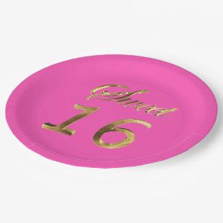 Sweet 16 Hot Pink and Gold Look Typography Elegant Paper Plate