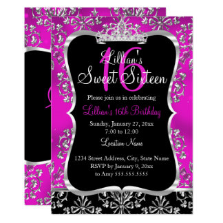 Sweet 16 Hot Pink Black Damask Tiara Invitation