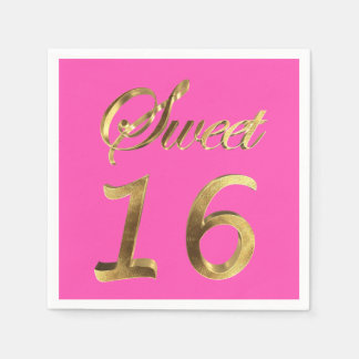 Sweet 16 Hot Pink Gold Look Typography Elegant Paper Napkin