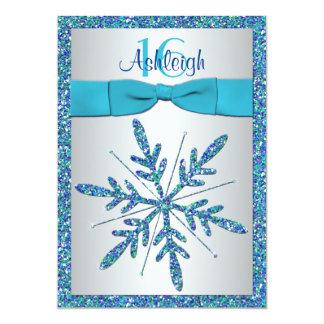Sweet 16 Invite | PRINTED BOW | Snowflake - Blue