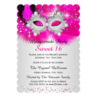 Sweet 16 Lace Mask Hot Pink Silver Masquerade 13 Cm X 18 Cm Invitation Card