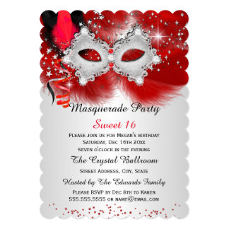 Sweet 16 Lace Mask Red Silver Masquerade 13 Cm X 18 Cm Invitation Card