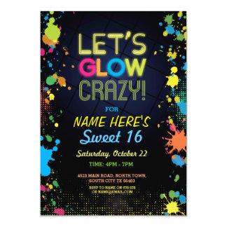 Sweet 16 Let's Glow Crazy Birthday Neon Invite