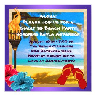 Sweet 16 Luau Beach Party 13 Cm X 13 Cm Square Invitation Card