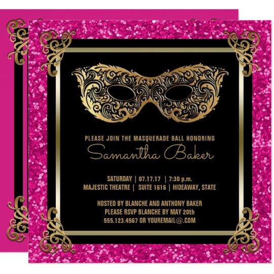 Sweet 16 Masquerade Ball Sixteen Pink Gold Invitation