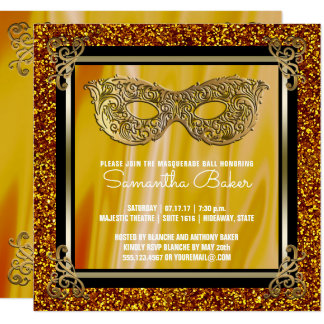 Sweet 16 Masquerade | Gold Sweet Sixteen Birthday Card