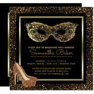 Sweet 16 Masquerade Party | Gold Sweet Sixteen Card