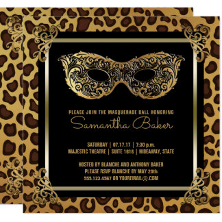 Sweet 16 Masquerade Party | Sweet Sixteen Leopard Card