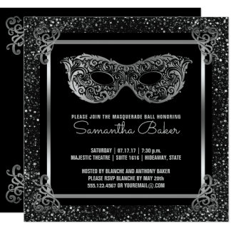 Sweet 16 Masquerade Party | Sweet Sixteen Silver Card