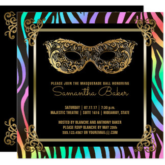 Sweet 16 Masquerade Party   Sweet Sixteen Zebra Card