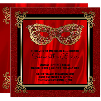 Sweet 16 Masquerade | Red Sweet Sixteen Birthday Card