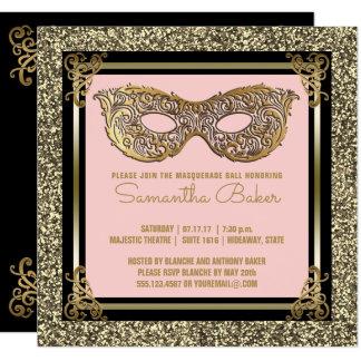 Sweet 16 Masquerade | Sweet Sixteen Pink Gold Card