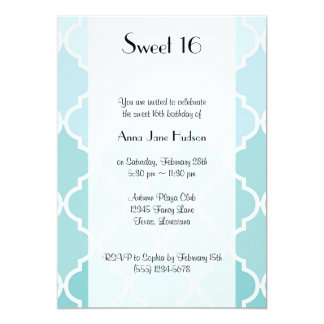 Sweet 16 - Ombre Moroccan Trellis - Blue White Card