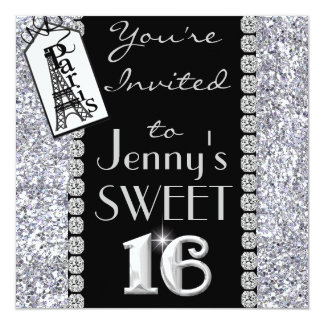 SWEET 16 Paris Theme Bling Party Invitation