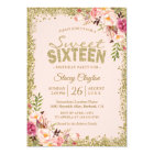 Sweet 16 Party - Blush Pink Gold Glitters Floral Card