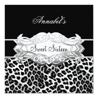Sweet 16 Party Elegant Black White Leopard Card