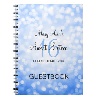 Sweet 16 Party Guestbook Blue Glitter Lights Note Books
