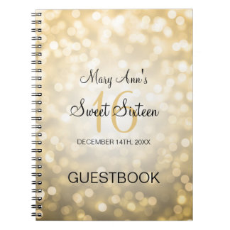 Sweet 16 Party Guestbook Gold Glitter Lights Notebooks