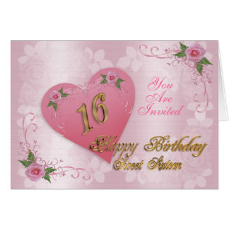 Sweet 16 party invitation pink hearts and roses