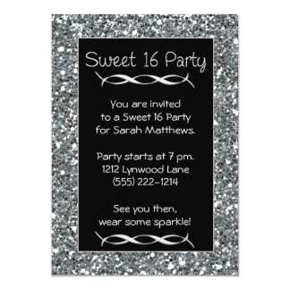 Sweet 16 Party Invitation Silver Sparkle Look