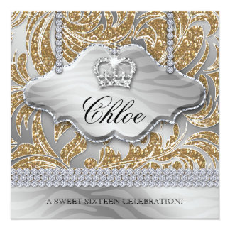Sweet 16 Party Invite Gold Crown Jewelry Leaves
