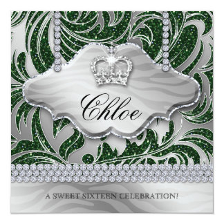 Sweet 16 Party Invite Green Crown Jewelry Leaves