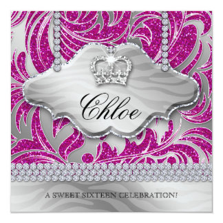 "Sweet 16 Party Invite Pink Crown Jewelry Leaves 5.25"" Square Invitation Card"