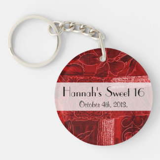 Sweet 16 - Patchwork, Flowers, Swirls - Red Double-Sided Round Acrylic Key Ring