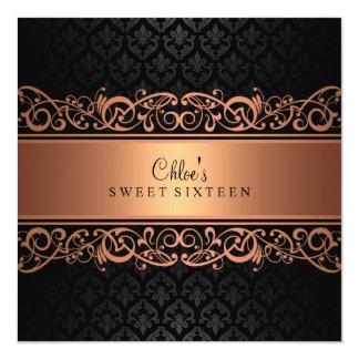 Sweet 16 | Peach & Black Damask Invitation