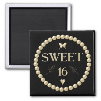 """Sweet 16 - Pearls on black """"velvet"""" Fridge Magnet"""