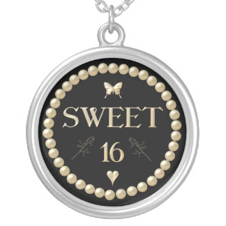 "Sweet 16 - Pearls on black ""velvet"" Silver Plated Necklace"
