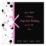 Sweet 16 Pink and Black Polka Dot Invitation