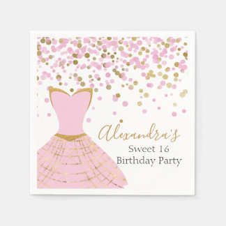 Sweet 16 Pink and Gold Foil Dress Paper Napkin