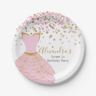 Sweet 16 Pink and Gold Foil Dress Paper Plate