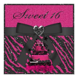 Sweet 16 Pink & Black Cake Faux Glitter Zebra Card