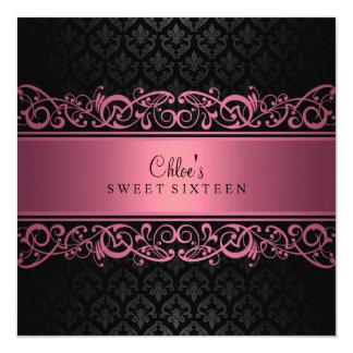 Sweet 16 | Pink & Black Damask Invitation