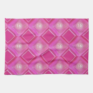 Sweet 16, Pink Diamonds Number Tea Towel