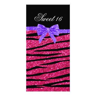Sweet 16 pink glitter zebra stripes custom photo card