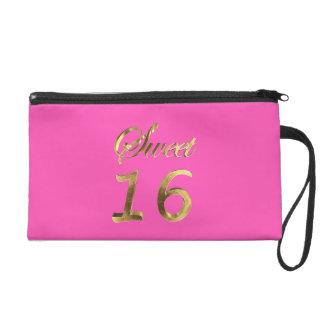 Sweet 16 Pink Gold Look Typography Elegant Wristlet