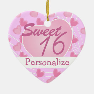Sweet 16 Pink Heart Ceramic Ornament