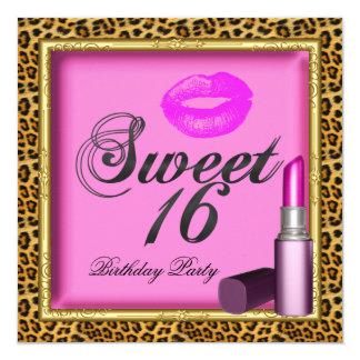 Sweet 16 Pink Lips Lipstick Leopard Gold Card