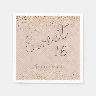 Sweet 16 Pink Rose Gold Chevrons | Sweet Sixteen Disposable Napkin