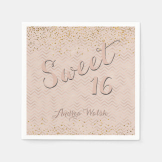 Sweet 16 Pink Rose Gold Chevrons | Sweet Sixteen Paper Napkins