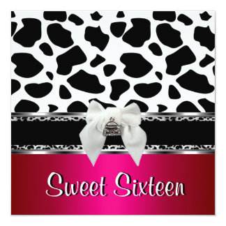Sweet 16 Pink Silver Black White Cow Leopard 2 13 Cm X 13 Cm Square Invitation Card
