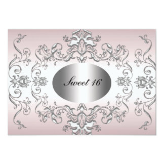 Sweet 16 Pink Silver Elegant Invitation