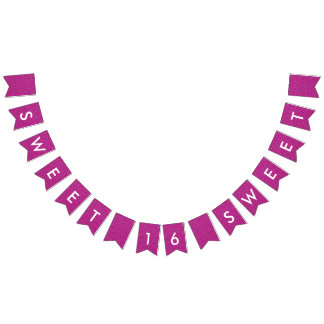 Sweet 16 Pink White Glitter 16th Birthday Party Bunting