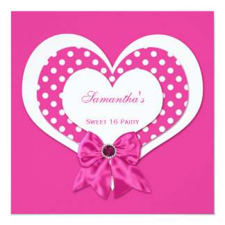 Sweet 16 Pink White Hearts Pink Jewels Polka Dots 13 Cm X 13 Cm Square Invitation Card