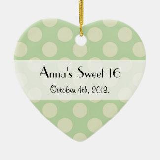 Sweet 16 - Polka Dots, Dotted Pattern - Green Ceramic Ornament