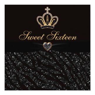 Sweet 16 Princess Crown, Heart & Zebra Glitter Card