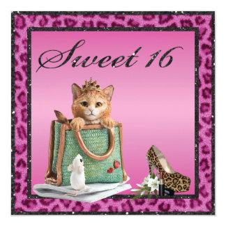 "Sweet 16 Princess Kitten Faux Pink Leopard Fur 5.25"" Square Invitation Card"